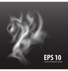 White smoke on transparent black background white vector