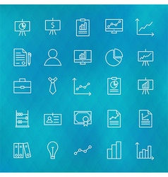 Business Chart Graph and Finance Line Icons Set vector image vector image