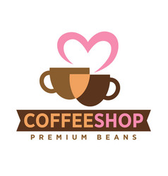 coffee shop logo with love premium beans icon on vector image