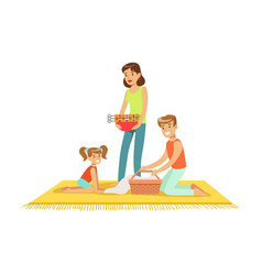 family on vacation having barbeque outdoors vector image