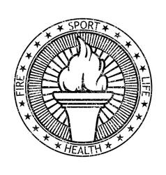 Grunge black stamp fire torch vector image