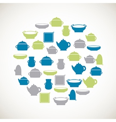 Kitchen colorful icons vector image vector image