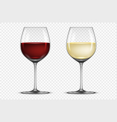 realistic wineglass icon set - with white vector image