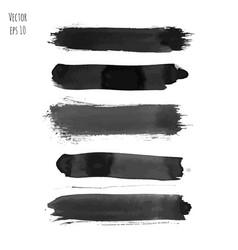 set of dark black watercolor hand painted stripes vector image vector image