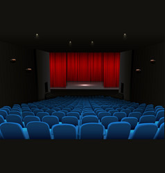theater stage with red curtains and blue seats vector image vector image