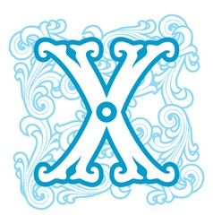 winter vintage letter X vector image vector image