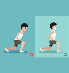 Wrong and right lunges posture vector