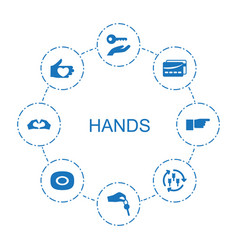 8 hands icons vector