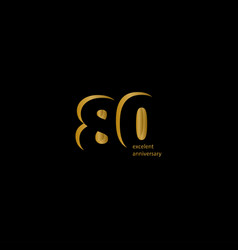 80 years excellent anniversary template design vector