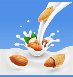 Almond in milk splash vector