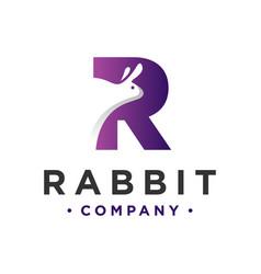 Animal logo design rabbit letter r vector