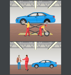 auto mechanic and client set vector image
