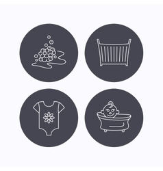 Baby clothes bath and crib icons vector image