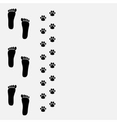 Bare foot print and paw print on the left vector image