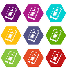 battery charging smartphone icons set 9 vector image