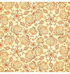 Beige abstract doodle flowers seamless pattern vector image