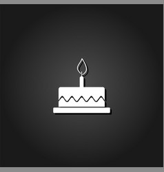 birthday cake icon flat vector image