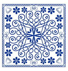 Blue ceramics tile design symmetric cobalt vector