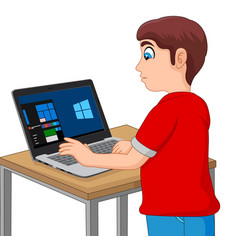 boy taking a computer based test on his laptop vector image