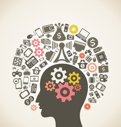 Brain and technology vector image