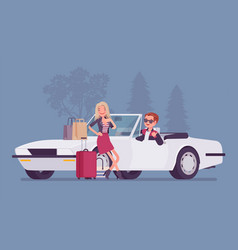 cabriolet boy giving girl a lift vector image