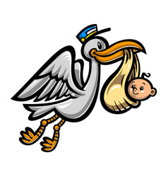 Cartoon flying stork bird delivering a baby vector