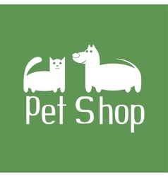 Cat and dog sign for pet shop logo vector image