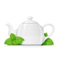 Ceramic teapot porcelain vector