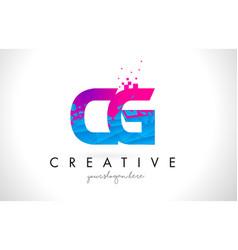 Cg c g letter logo with shattered broken blue vector