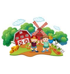 Children at farm scene vector