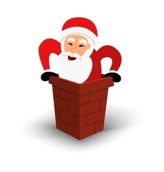 Christmas smiling Santa Claus character in chimney vector image