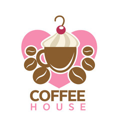 Coffee house colorful logotype sign isolated on vector