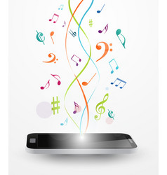 colorful music notes out of smart phone vector image