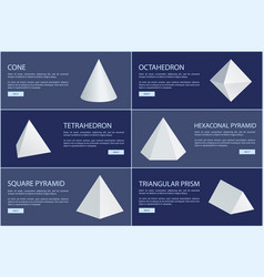Cone and octahedron figures white prisms vector