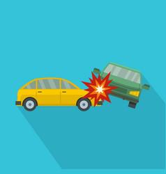 crashed car icon flat style vector image