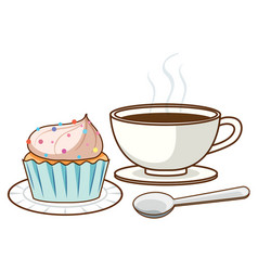 Cup coffee and cupcake vector