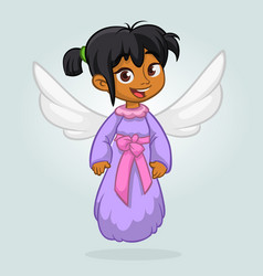 cute happy girl arab or indian girl angel characte vector image