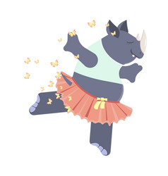 Cute rhinoceros ballerina vector
