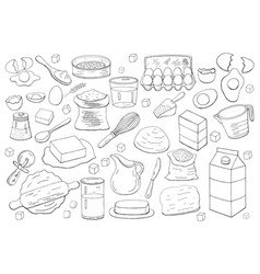 Different dough items and kitchen accessories vector