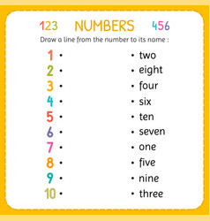 Draw a line from the number to its name numbers vector