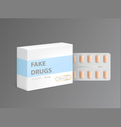 Fake drugs in carton package box vector