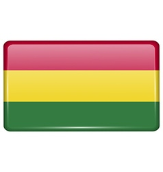 Flags Bolivia in the form of a magnet on vector image