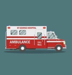 flat ambulance vehicle vector image