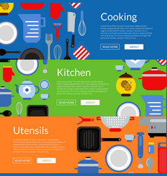 flat style kitchen utensils horizontal web vector image