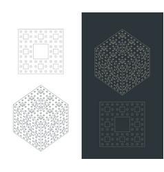 Fractal cube drawings vector