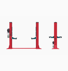 Front and side view red car lift vector