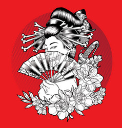 Geisha blow skull flower beautiful vector