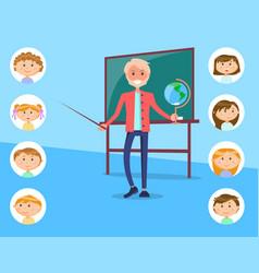 geography teacher with earth globe near chalkboard vector image