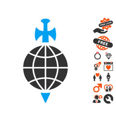 global guard icon with love bonus vector image