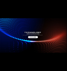 Glowing technology particles digital wavy vector